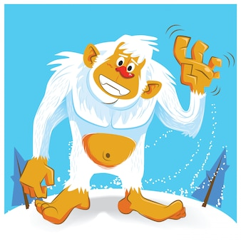 Cute yeti cartoon vector