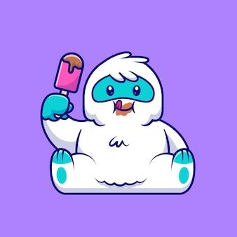 귀여운 설인 먹는 아이스크림 만화 아이콘 그림. 동물 음식 아이콘 개념입니다. 플랫 만화 스타일