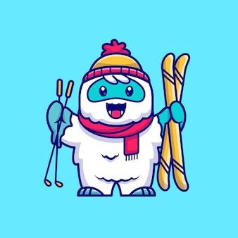 귀여운 설인 재생 스키 만화 아이콘 그림입니다. 동물 스포츠 아이콘 개념 절연입니다. 플랫 만화 스타일
