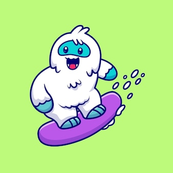 Cute yeti snowboarding cartoon   icon illustration. animal sport icon concept isolated  . flat cartoon style