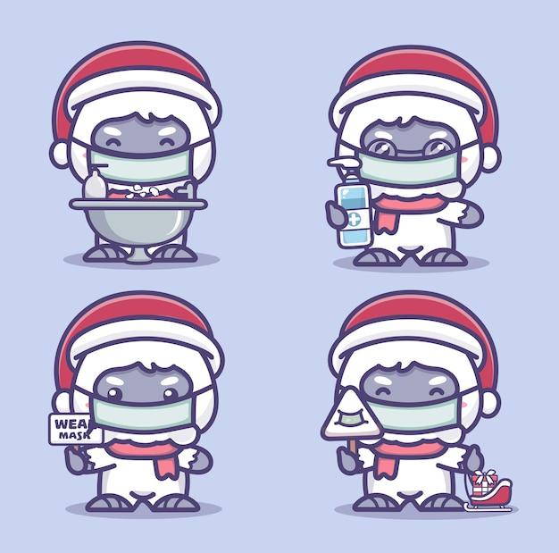 Симпатичные йети носят медицинскую маску, моют руки и используют дезинфицирующее средство для рук, защищающее от коронавируса covid-1. новая нормальная рождественская концепция