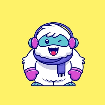 Cute yeti wearing scarf, glove and earmuff cartoon   icon illustration. animal winter icon concept isolated  . flat cartoon style
