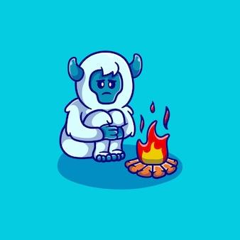 모닥불 옆에 있는 귀여운 설인