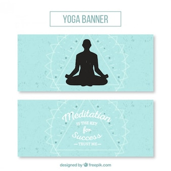 Cute yoga banners with a pose silhouette