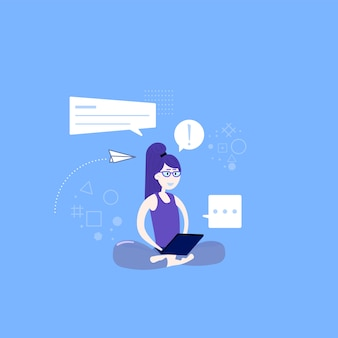 Cute yoga and meditation illustration in flat style