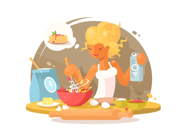 Cute young blonde woman prepares a meal in kitchen