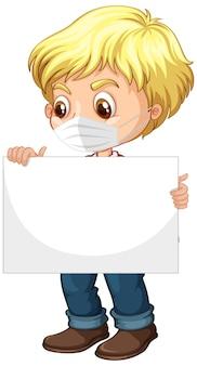 Personaggio dei cartoni animati di giovane ragazzo sveglio che tiene cartello in bianco