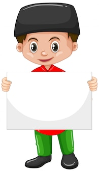 Cute young boy cartoon character holding blank poster