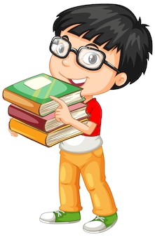 Cute young boy cartoon character holding books