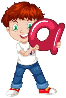 Cute young boy cartoon character holding english alphabet