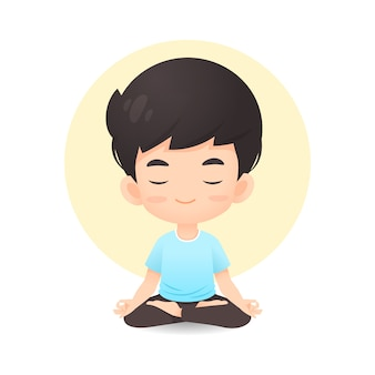 Cute young boy cartoon in meditation pose