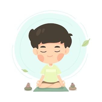 Cute young boy cartoon in meditation pose
