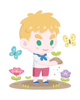 Cute young boy holding sprout cartoon illustration