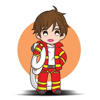 Cute young boy wearing firefighter cartoon