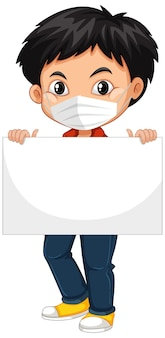 Cute young boy with face mask holding blank placard or poster. coronavirus concept