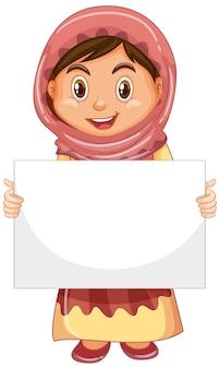 Personaggio dei cartoni animati di giovane ragazza carina che tiene bandiera in bianco