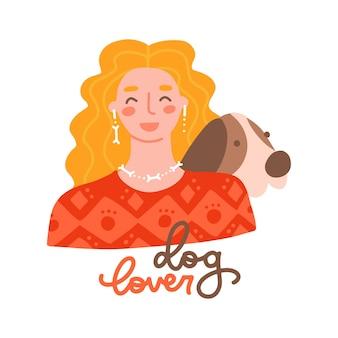 彼女の犬のペットの恋人のレタリング引用フラットベクトルイラストとセーターのかわいい若い女の子