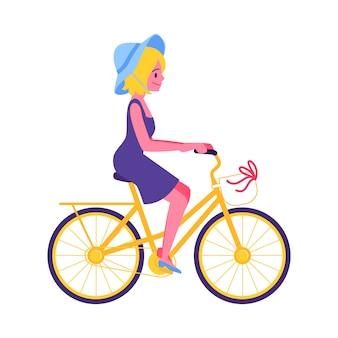 노란색 자전거 아이콘을 타고 귀여운 어린 소녀