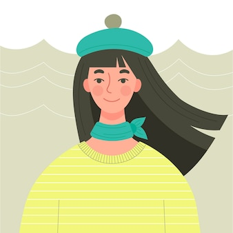 A cute young girl with long dark hair in a beret. autumn outfit, parisian fashion. character in flat style