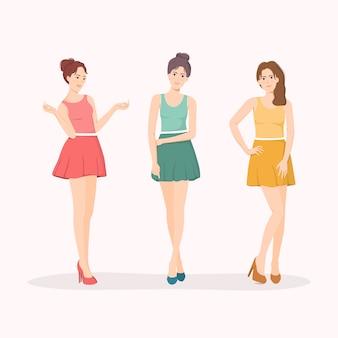 귀여운 젊은 k-pop 걸 그룹 캐릭터.