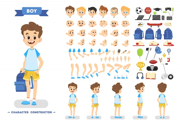 さまざまなビュー、ヘアスタイル、感情、ポーズ、ジェスチャーを備えたアニメーション用のかわいい若い男性の少年キャラクターセット。