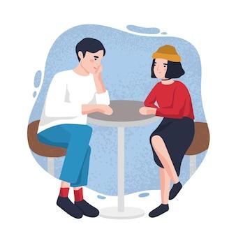 かわいい若い男と女がカフェのテーブルに座って、お互いを見ています。レストランでデート中の愛らしいモダンなカップル。背景の汚れに分離された漫画のキャラクター。フラットベクトルイラスト。