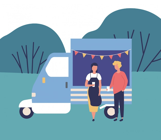 Cute young man and woman standing beside food truck, drinking coffee and talking to each other. summer outdoor festival, creative market or fair, garage sale in park. flat cartoon vector illustration.