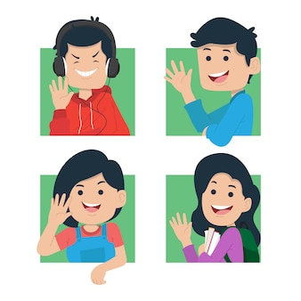 Cute young people waving hand illustration