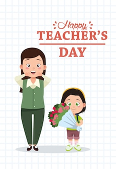 Cute young teacher woman and schoolgirl with roses bouquet