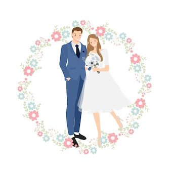 Cute young wedding couple in blue suit with flower wreath
