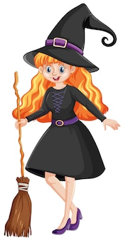 Cute young witch cartoon character