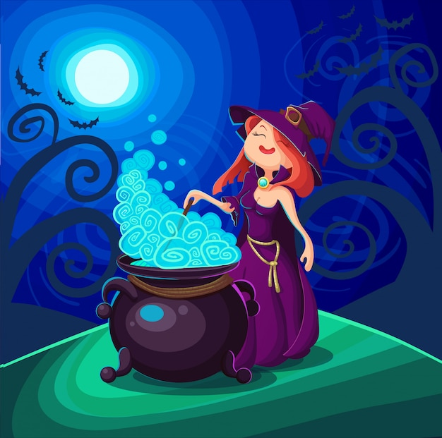 Симпатичная молодая ведьма на хэллоуин
