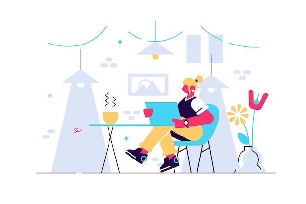아늑한 방에 노트북 컴퓨터와 편안한 의자에 앉아 귀여운 젊은 여자.