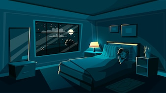 Cute young woman sleeping in bedroom at night, cartoon interior.