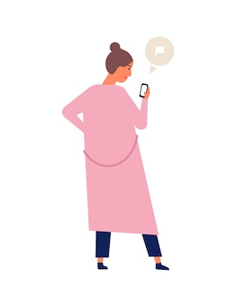 Cute young woman or teenager chatting or texting on smartphone or electronic gadget. girl surfing internet on mobile phone. online communication, instant messaging. flat cartoon vector illustration.