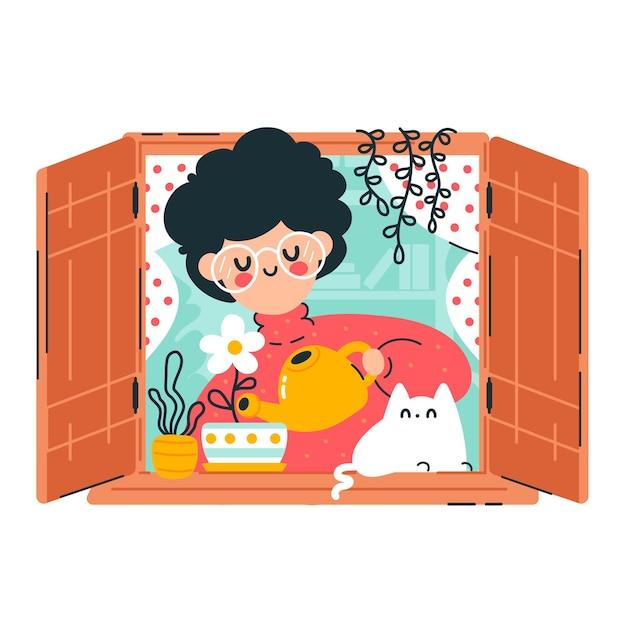 귀여운 젊은 여자 물 식물과 꽃 창에