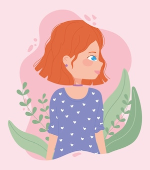 植物とかわいい若い女性