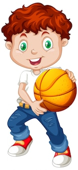Cute youngboy cartoon character holding basketball