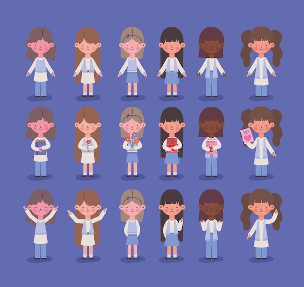 Набор иконок милые молодые девушки
