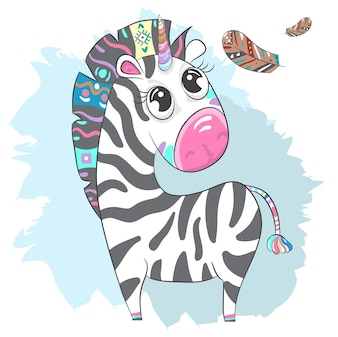 Cute Zebra boho cartoon hand drawn