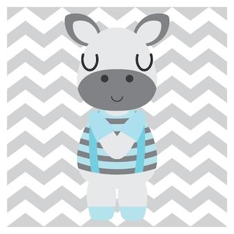 Cute zebra boy on chevron background cartoon illustration