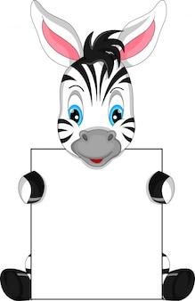 Cute zebra cartoon and blank sign