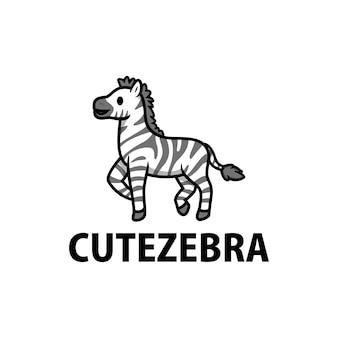 Симпатичная зебра мультфильм логотип значок иллюстрации