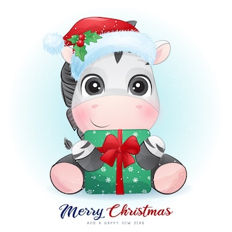 Cute  zebra for christmas day with watercolor illustration