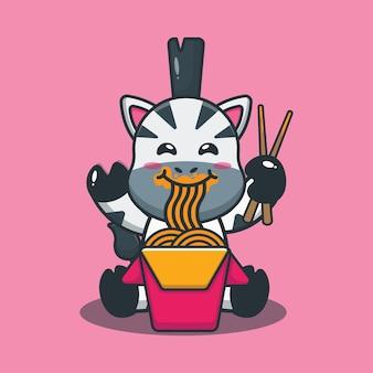 麺を食べるかわいいシマウマ漫画イラスト