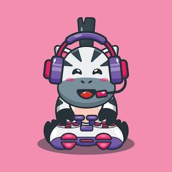 Cute zebra gaming cartoon vector illustration