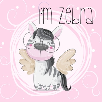 Cute zebra hand draw illustration-vector