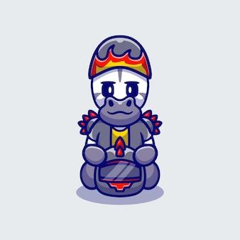Cute zebra motorcycle gang member
