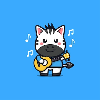 Cute zebra play guitar cartoon illustration
