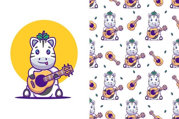 シームレスなパターンでギターの漫画イラストを演奏かわいいシマウマ